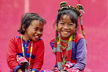 Portrait of two smiling children of the Kalagan tribe famous for Eric an ethnic dance of joy and happiness, at Cotabato on Mindanao, Philippines, Southeast Asia, Asia