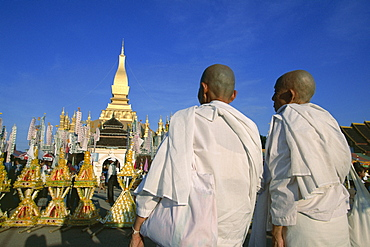 Religious rites, Pha That Luang, Vientiane, Laos, Indochina, Southeast Asia, Asia