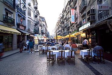 Pedestrian street with restaurants, Rossio district, Lisbon, Portugal, Europe