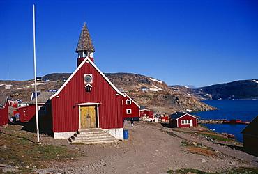 Church at Ittoqqortoormiit, East Greenland, Greenland, Polar Regions