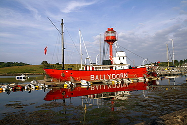Former lightship used as a sailing club centre, Strangford Lough, County Down, Northern Ireland, United Kingdom, Europe