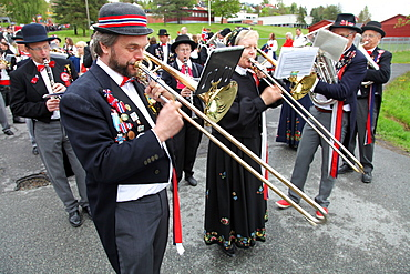 The National Day in Norway, May 17th, is marked by processions and bands all over the country with many wearing national costume, Asker, Norway, Scandinavia, Europe