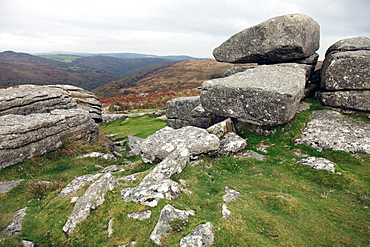 Granite boulders on a Tor near Hexworthy overlooking the Dart valley, Dartmoor National Park, Devon, England, United Kingdom, Europe