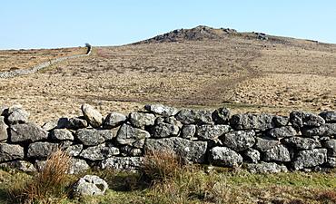 Dry stone walling from granite boulders, Dartmoor National Park, Devon, England, United Kingdom, Europe