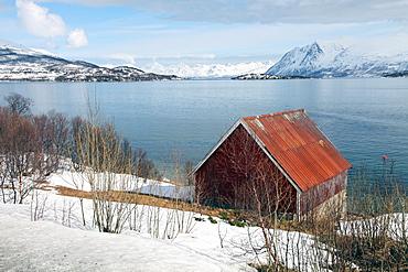 Boathouse on the island of Kvaloya (Whale Island), Troms, Norway, Scandinavia, Europe