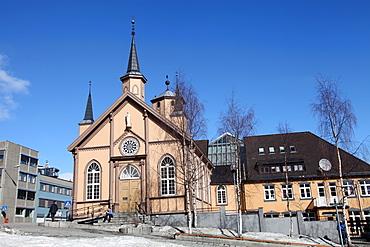 Church in the harbour square, Tromso, arctic Norway, Scandinavia, Europe