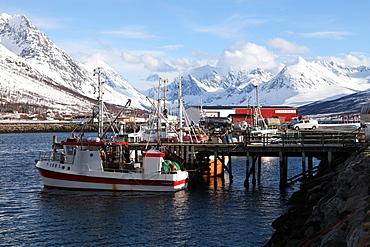 Fishing boats and Lyngen Alps, Troms, Norway, Scandinavia, Europe