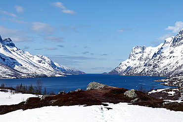Seaward view from the top of Ersfjord, Kvaloya (Whale Island), Troms, arctic Norway, Scandinavia, Europe