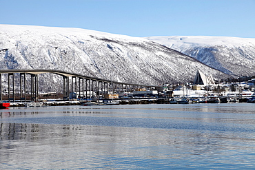Tromso bridge and the Cathedral of the Arctic in Tromsdalen, Troms, Norway, Scandinavia, Europe