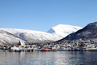 Tromsdalen and the Cathedral of the Arctic opposite Tromso, Troms, Norway, Scandinavia, Europe