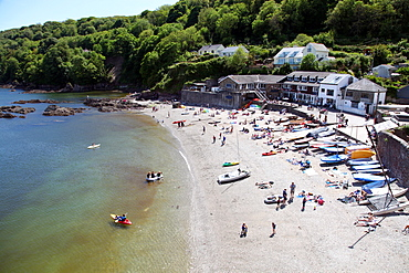Cawsand beach from street above, Plymouth Sound, Cornwall, England, United Kingdom, Europe