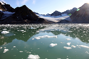 Brash ice from the Waggonbreen glacier, Magdalenefjord, Svalbard