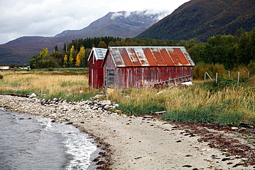 Two old boat sheds, Balsfjord, Troms, North Norway, Norway, Scandinavia, Europe