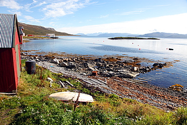 Boat house and slip. Helgoy, Kvalsund, North Norway, Norway, Scandinavia, Europe