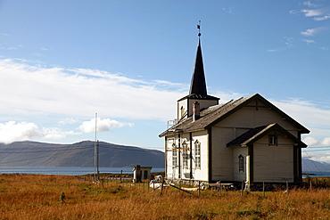 Church at uninhabited island of Helgoy, Troms, North Norway, Norway, Scandinavia, Europe