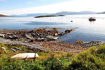 Boat and slip at Helgoy, Troms, North Norway, Norway, Scandinavia, Europe