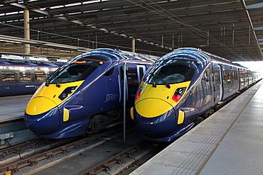 High speed trains at St. Pancras station, London, England, United Kingdom, Europe