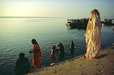 The Ganges (Ganga) River waterfront, Varanasi (Benares), Uttar Pradesh, India