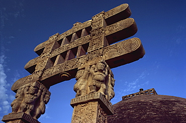 One of the four carved toranas (gateways) at Stupa One, Sanchi, UNESCO World Heritage Site, Madhya Pradesh state, India, Asia