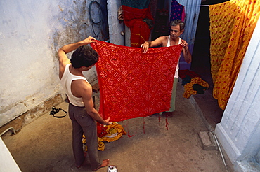 Fabrics produced by tie and dye process, Bhuj town, Kutch district, Gujarat state, India, Asia