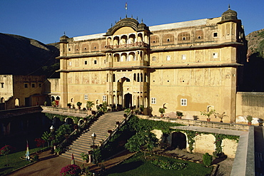 The Rajput Samode Palace, now a hotel, near Jaipur, Rajasthan state, India, Asia