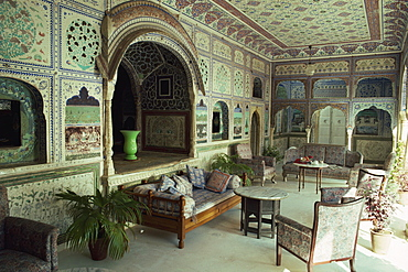 The Sultan Mahal, Samode Palace, now a hotel near Jaipur, Rajasthan state, India, Asia