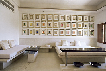 Bedroom suite with multiple images or paintings of Krishna, Devi Garh Fort Palace Hotel, near Udaipur, Rajasthan state, India, Asia
