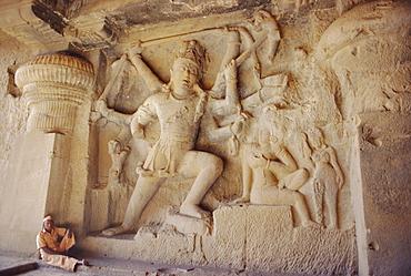 Rock cut panel showing the Hindu God Lord Shiva in Cave no 29, the Dhuma Lena Cave, at Ellora, Maharashtra State, India