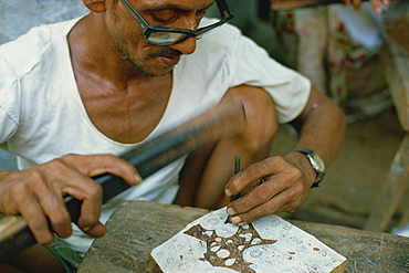Carving block print for block printing, India, Asia
