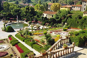 The formal terraced gardens of the 18th century Villa Garzoni at Collodi in Tuscany, Italy, Europe