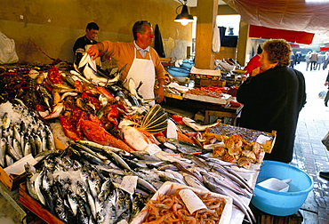 Fish market, Marsala, island of Sicily, Italy, Europe