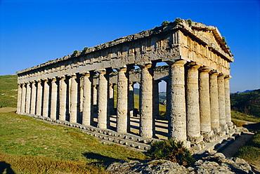 The Greek Doric temple of Segesta, near Calatafimi, Sicily, Italy, Europe
