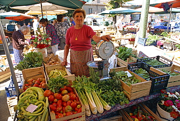 Woman selling fruit, vegetables and flowers on a stall in the street market in Asti, Piedmont, Italy, Europe