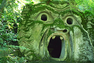 Fantastic statue in the Monster Park, Bomarzo, Lazio, Italy, Europe