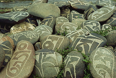 Cairn of individual prayers carved on stones, Tibet, China, Asia