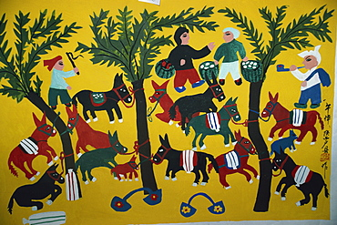 Huxien paintings by farmers, Xian, China, Asia