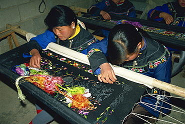 Commercial embroidery by Miao girls, Guizhou, China, Asia
