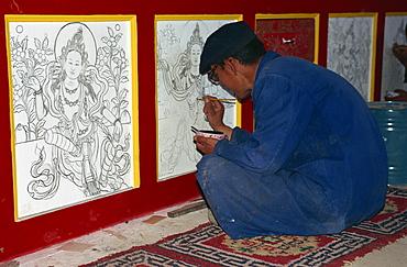 Rebuilding, Regong artist, Long Wu Monastery, Tongren, Qinghai, China, Asia