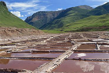 Salt pans at village of Nangqen, Qinghai, China, Asia