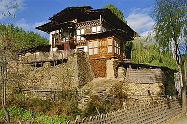 Typical farmhouse, Bumthang, Bhutan, Asia