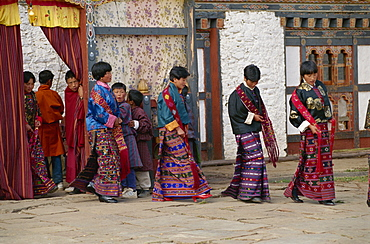 Girl singers at festival, Bumthang, Bhutan, Asia