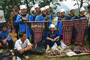 Shui people selling baby carriers, Guizhou, China, Asia