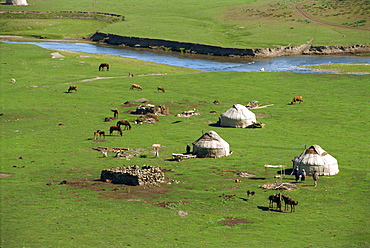 Kazak yurts in the summer in the Altay mountains, NE Xinjiang, China, Asia