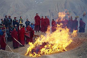 Burning evil at Losar (new year), Tongren, Qinghai, China, Asia