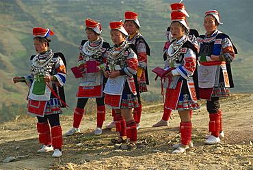 Miao girls in festival dress, Gejia, southeast Guizhou, Guizhou, China, Asia