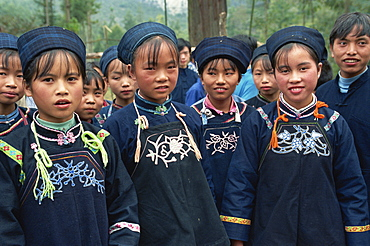 Everyday dress of Miao girls near Loudian, Guizhou, China, Asia