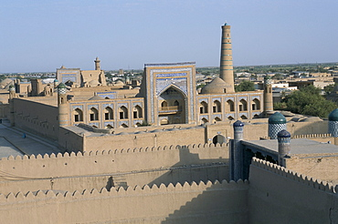 Overview of city from walls, Khiva, Uzbekistan, Central Asia, Asia