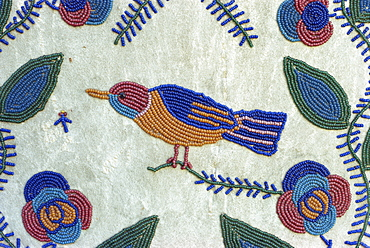 Detail of Nez Perce beadwork of cradle board, Olympia State Capitol Museum, Washingon state, United States of America, North America