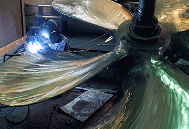 Welding propeller, marine industry, Seattle, Washington, United States of America, North America