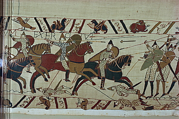 Norman cavalry clashes with Harold's foot soldiers forming shield wall, Bayeux Tapestry, Bayeux, Normandy, France, Europe